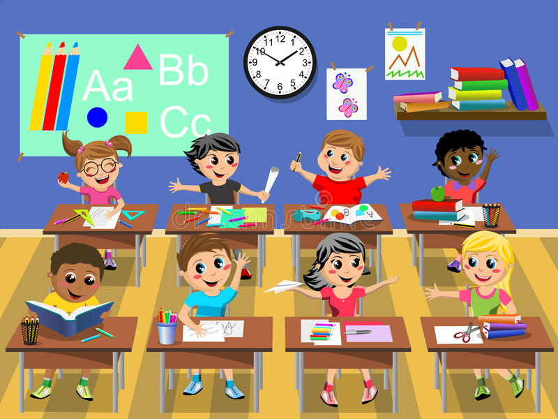 Szczęśliwi dzieciaków dzieci siedzi biurko sala lekcyjnej szkoły ilustracja wektor