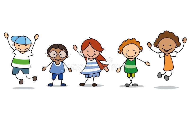 Szczęśliwi dzieciaki bawić się - dzieci ilustracja, chłopiec i dziewczyny, ilustracja wektor