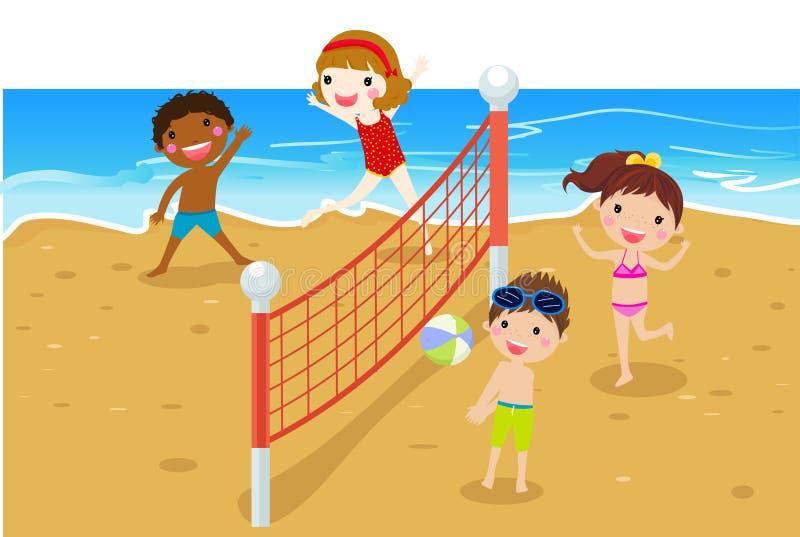 Szczęśliwi dzieciaki bawić się plażową siatkówkę ilustracji