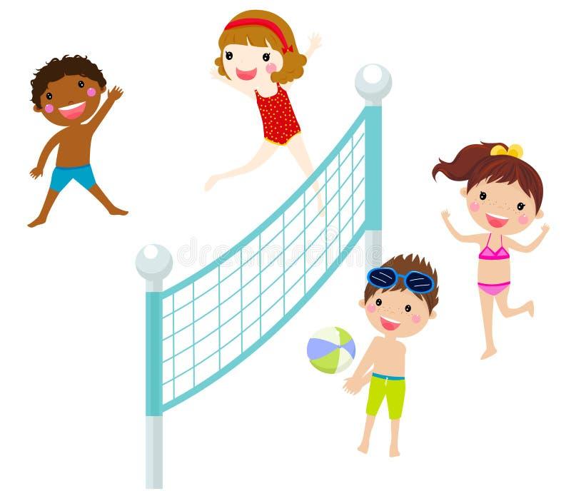 Szczęśliwi dzieciaki bawić się plażową siatkówkę ilustracja wektor
