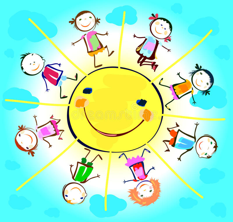 Szczęśliwi dzieciaki bawić się wokoło słońca royalty ilustracja