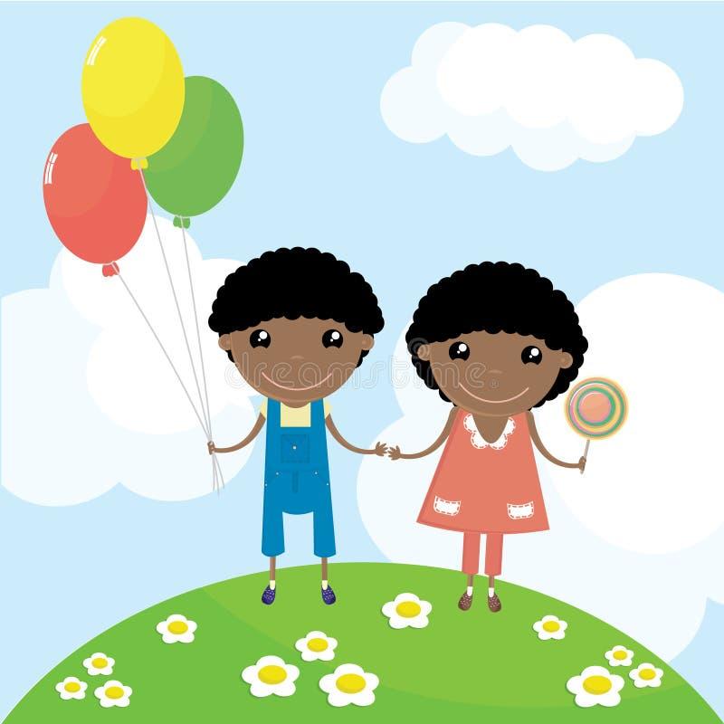 szczęśliwi dzieciaki dwa royalty ilustracja
