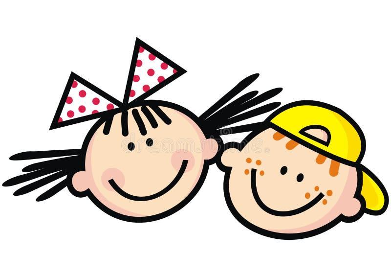 Szczęśliwi dzieciaki, dziewczyna i chłopiec, śmieszna wektorowa ilustracja royalty ilustracja