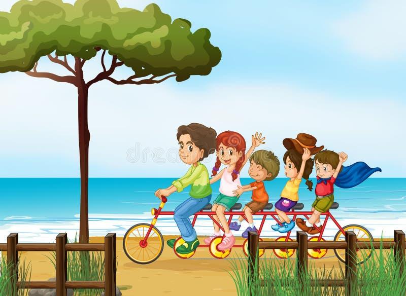 Szczęśliwi dzieciaki i bicykl royalty ilustracja