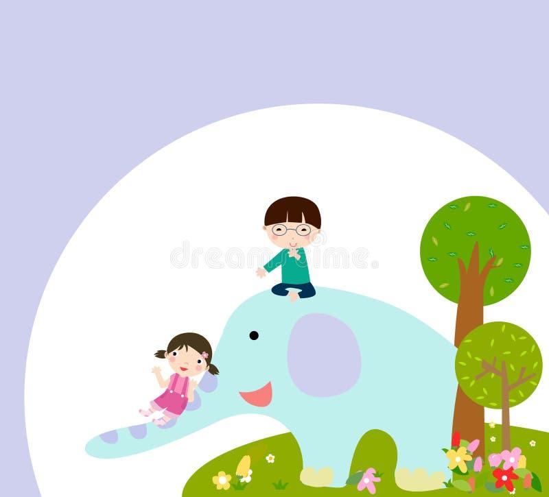 Szczęśliwi dzieciaki i słoń royalty ilustracja