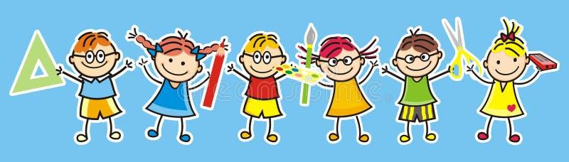 Szczęśliwi dzieciaki i szkolne dostawy ilustracja wektor