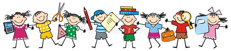 Szczęśliwi dzieciaki i szkolne dostawy, wektorowa ikona royalty ilustracja