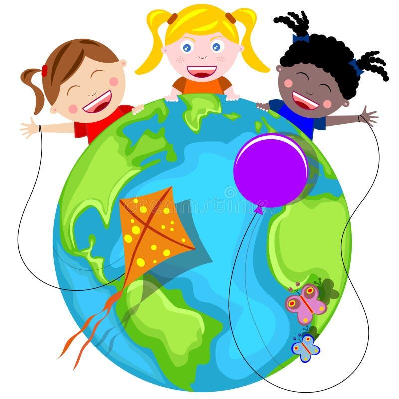 Szczęśliwi Dzieciaki i Ziemia royalty ilustracja
