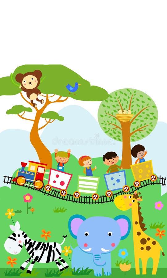 Szczęśliwi dzieciaki na kolorowym pociągu z zwierzęciem ilustracja wektor