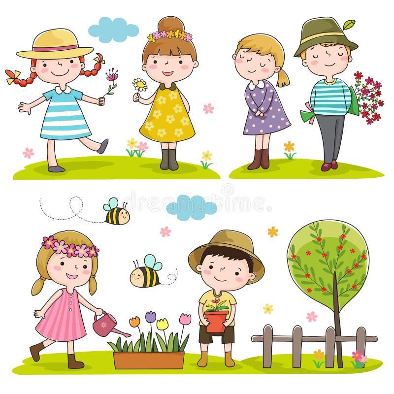 Szczęśliwi dzieciaki plenerowi w wiosna sezonie royalty ilustracja