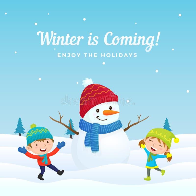 Szczęśliwi dzieciaki skaczą bawić się z dużym ślicznym ubierającym bałwanem w zima sezonu tła wektorowej ilustracji i cieszą się ilustracja wektor
