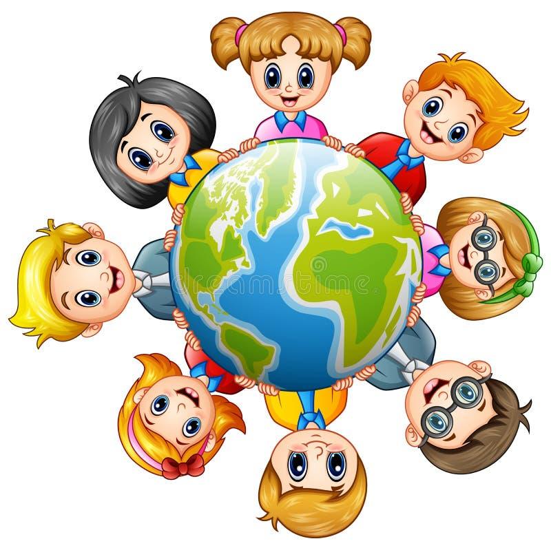 Szczęśliwi dzieciaki wokoło ziemi royalty ilustracja