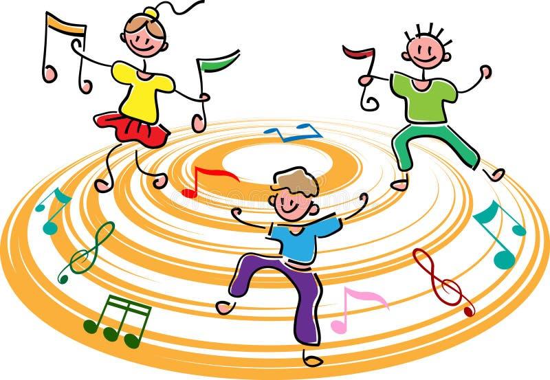 Szczęśliwi dzieciaki z muzykalnymi notatkami ilustracji