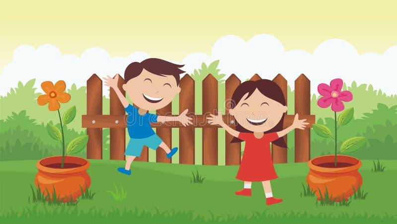 Szczęśliwi dzieciaki z pięknym krajobrazem ilustracji