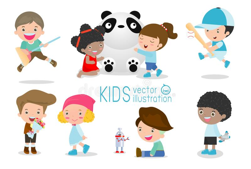 Szczęśliwi dzieciaki z zabawkami, dziecko sztuka z zabawkami, śliczni dzieciaki bawić się z zabawkami, dziecko z zabawkami, dziec ilustracji