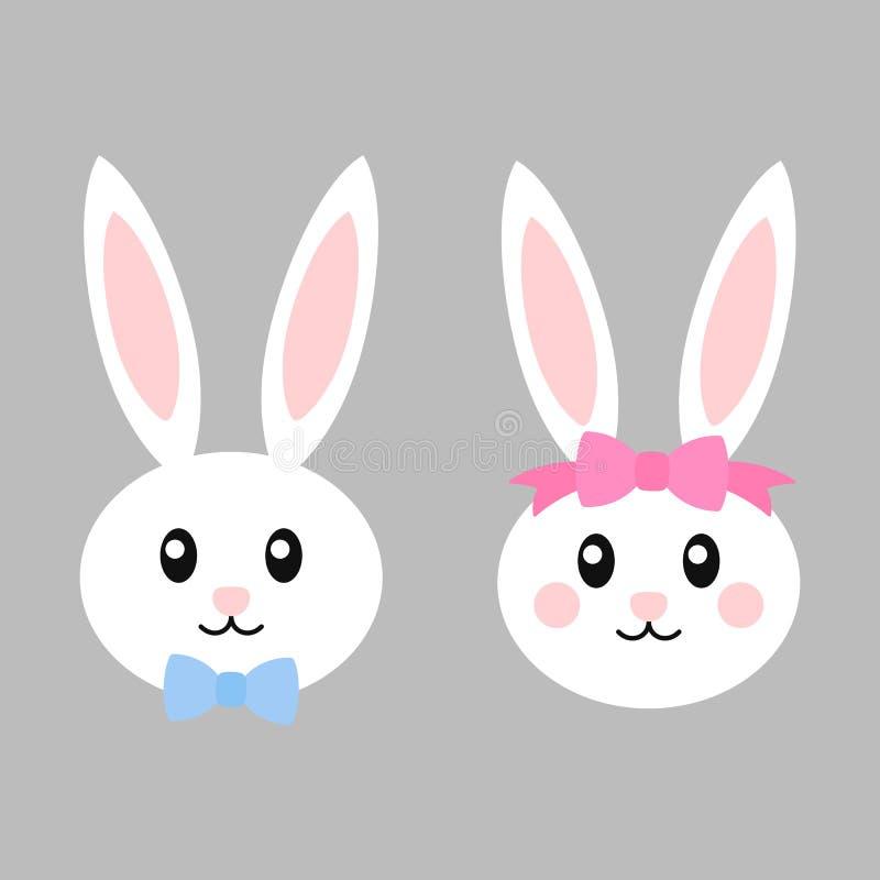 Szczęśliwi Easter króliki z łękami - wektorowa ilustracja Śliczna królik dziewczyna, chłopiec i Biały królik odizolowywający kres ilustracji