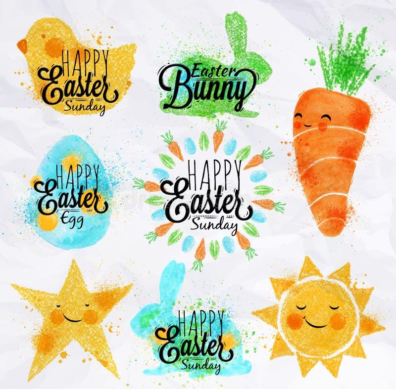 Szczęśliwi Easter symbole ilustracja wektor