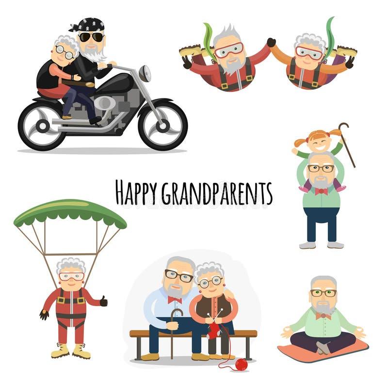 Szczęśliwi emeryci po emerytura ilustracja wektor