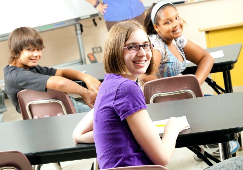 szczęśliwi fotografii szkoły zapasu ucznie zdjęcia stock