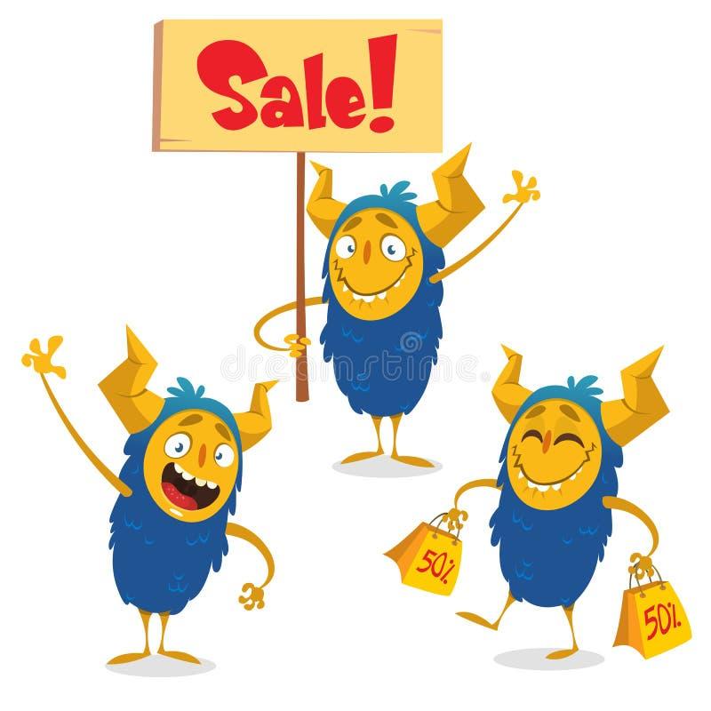 Szczęśliwi Halloweenowi kreskówka potwory ustawiający dla robić zakupy dyskontowych sztandary Potwora mienia sprzedaży znak ilustracji