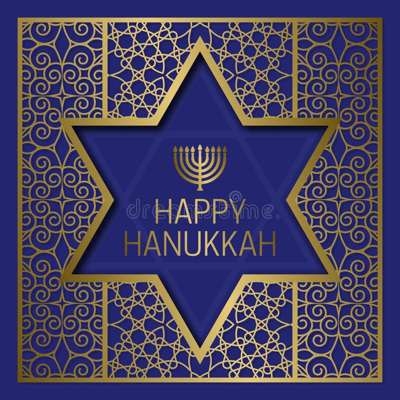 Szczęśliwi Hanukkah kartka z pozdrowieniami szablony na złotym wzorzystym tle z gwiazdy dawidowa ramą
