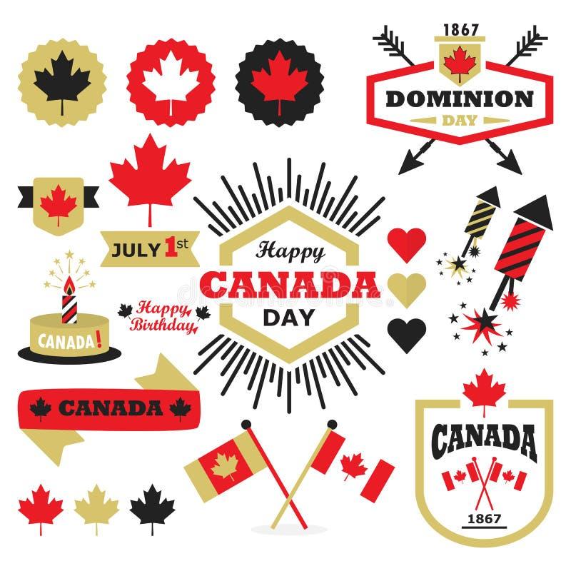 Szczęśliwi Kanada dnia projekta elementy ustawiający ilustracja wektor