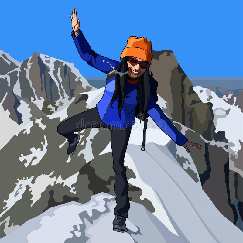 Szczęśliwi kobieta turysty stojaki przy wierzchołkiem góra ilustracja wektor