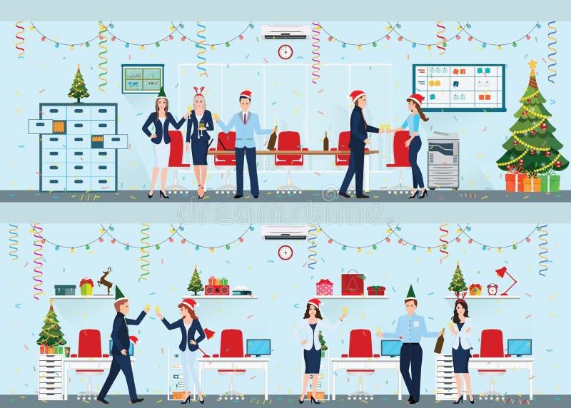 Szczęśliwi koledzy W Santa odświętności Kapeluszowych bożych narodzeniach Przy biurem royalty ilustracja