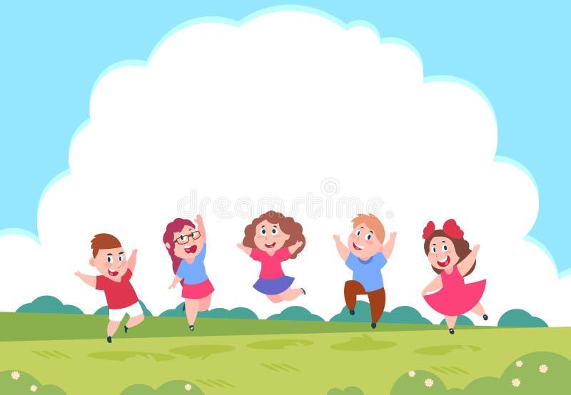 Szczęśliwi kreskówek dzieci Preschool bawić się dzieciaków na lato natury tle z chmurami Wektor grupa aktywni dzieci royalty ilustracja