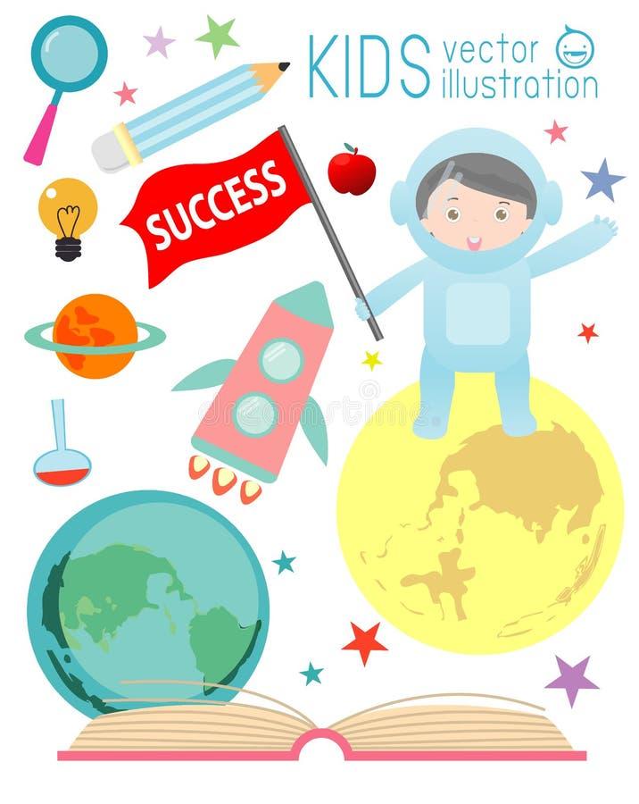 Szczęśliwi kreskówka dzieciaki na przestrzeni z rakietową edukacją, kosmita, edukaci pojęcie ilustracja wektor