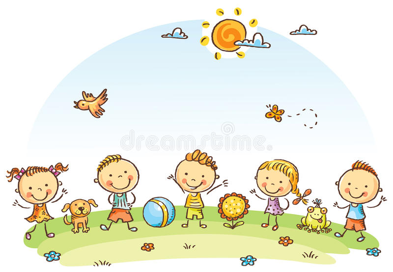 Szczęśliwi kreskówka dzieciaki outdoors na zielonej łące ilustracja wektor