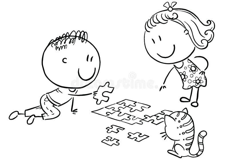 Szczęśliwi kreskówka dzieciaki próbuje gromadzić łamigłówkę royalty ilustracja
