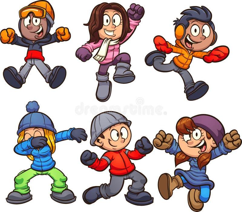 Szczęśliwi kreskówka dzieciaki w zimie odziewają ilustracja wektor