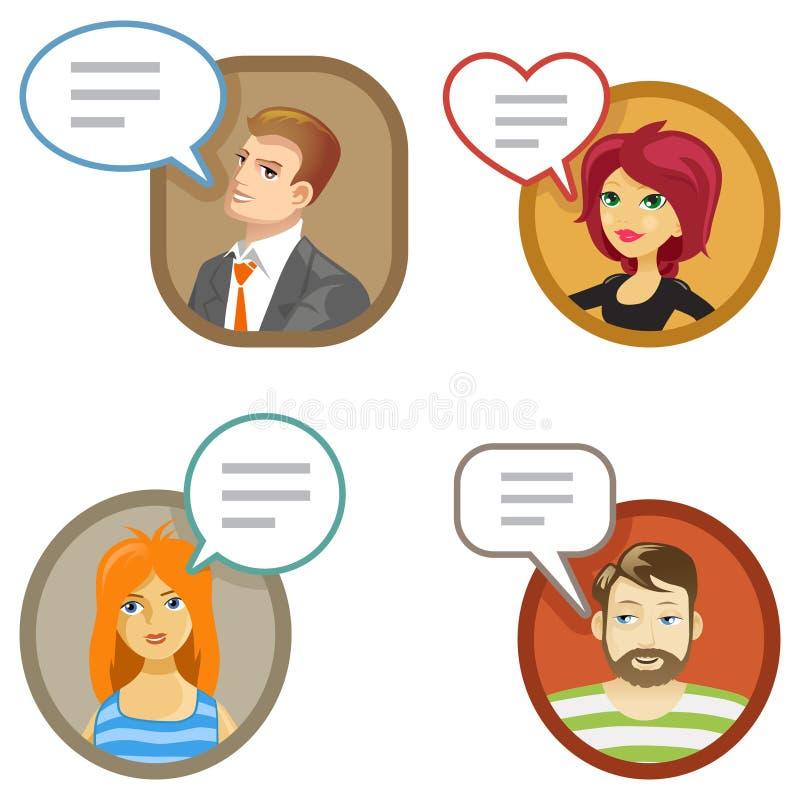 Szczęśliwi kreskówka klienci i ich przeglądy royalty ilustracja