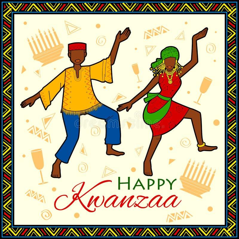 Szczęśliwi Kwanzaa powitania dla świętowania amerykanina afrykańskiego pochodzenia festiwalu wakacyjny żniwo royalty ilustracja