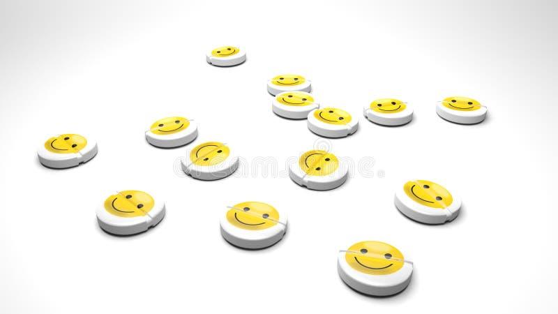 Szczęśliwi leki, pastylki które leczą smucenie i złych nastroje royalty ilustracja