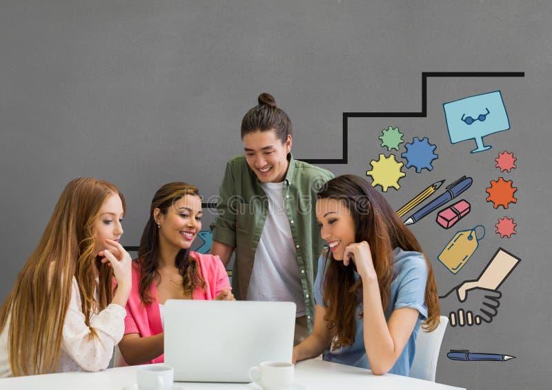 Szczęśliwi ludzie biznesu patrzeje komputer przeciw popielatemu tłu z grafika przy biurkiem ilustracji