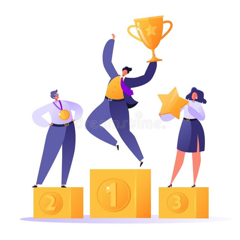 Szczęśliwi ludzie biznesu stoi na zwycięzcy podium z nagrodami royalty ilustracja
