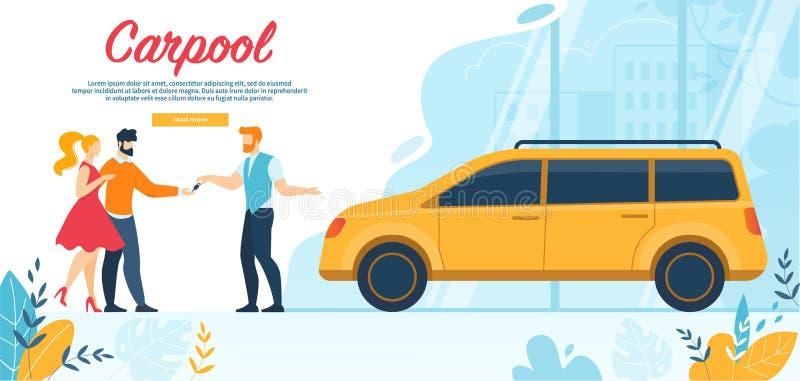 Szczęśliwi ludzie Dzierżawią samochód na Weekendowej podróży przejażdżce ilustracja wektor