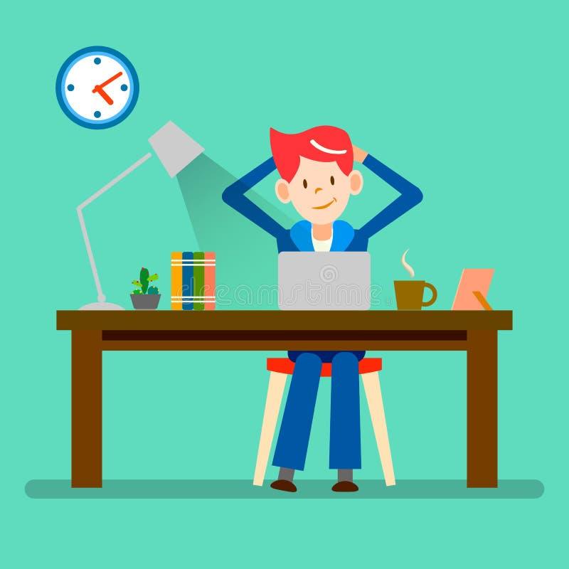 Szczęśliwi ludzie, freelance, relaksują od pracującego wektorowego projekta, ilustracja wektor