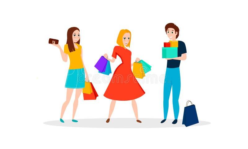 Szczęśliwi ludzie iść robić zakupy ilustracja wektor