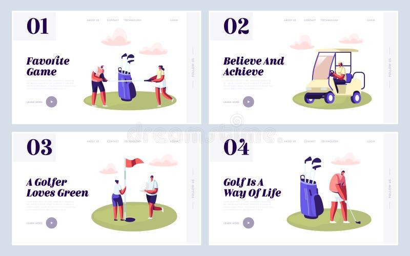 Szczęśliwi ludzie na golfa pola strony internetowej lądowania strony secie, lato Relaksuje przy Golfclub, lato sporty, Plenerowa  ilustracji