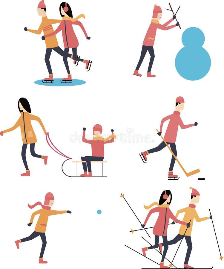 Szczęśliwi ludzie robią zima sportów drzwiom Płaska projekta wektoru ilustracja zdjęcie stock
