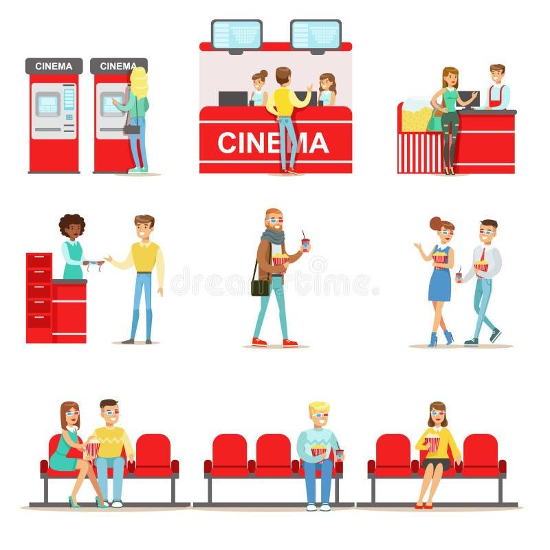 Szczęśliwi ludzie W Kinowym Theatre Kupuje I Siedzi Na Ich rewolucjonistce, bilety I popkorn, Siedzą royalty ilustracja