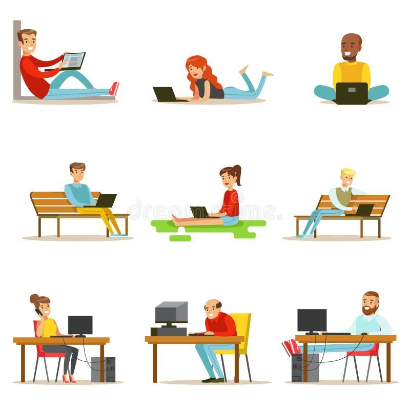 Szczęśliwi ludzie Wydaje Ich czas Używać Komputerową kolekcję Wektorowe ilustracje royalty ilustracja