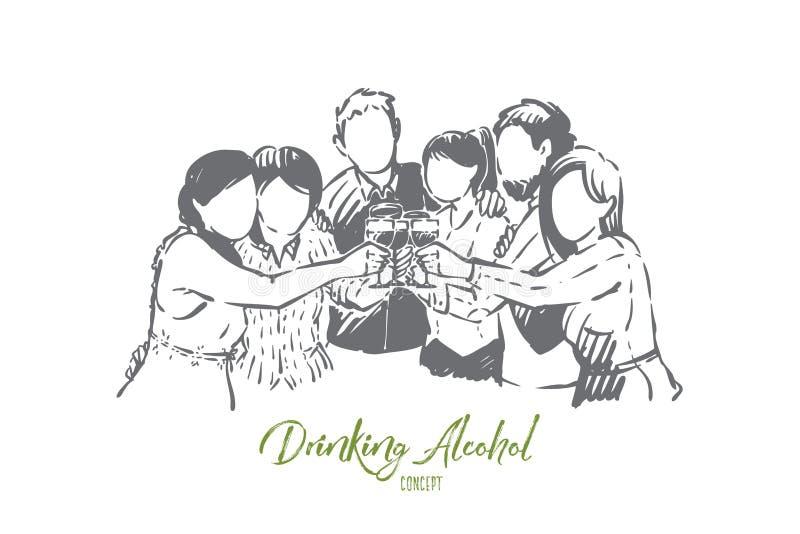 Szczęśliwi mężczyźni i kobiety pije alkohol, młodzi przyjaciele, dorosli ma zabawę, świętowanie z koktajlami, wino ilustracji