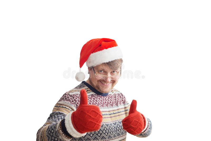 Szczęśliwi mężczyzna w czerwonym Bożenarodzeniowym kapeluszu zdjęcie stock