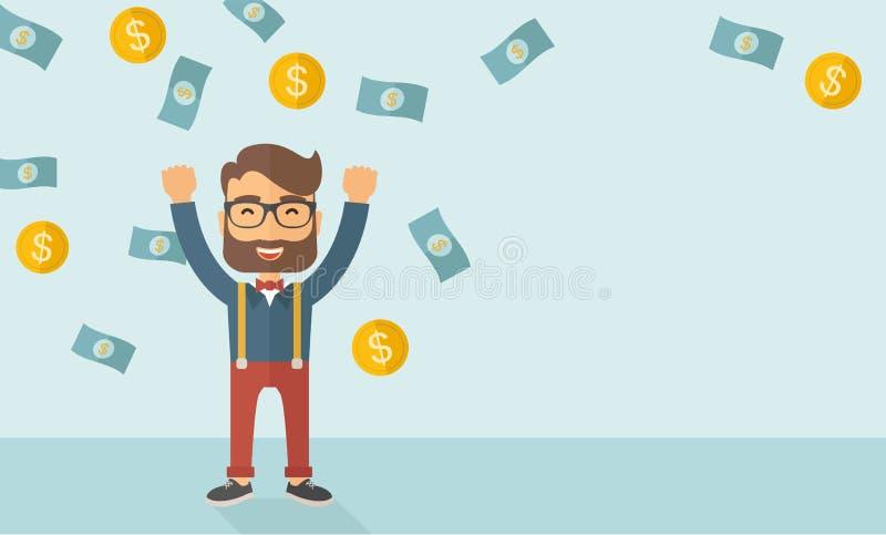 szczęśliwi młodych przedsiębiorców ilustracja wektor