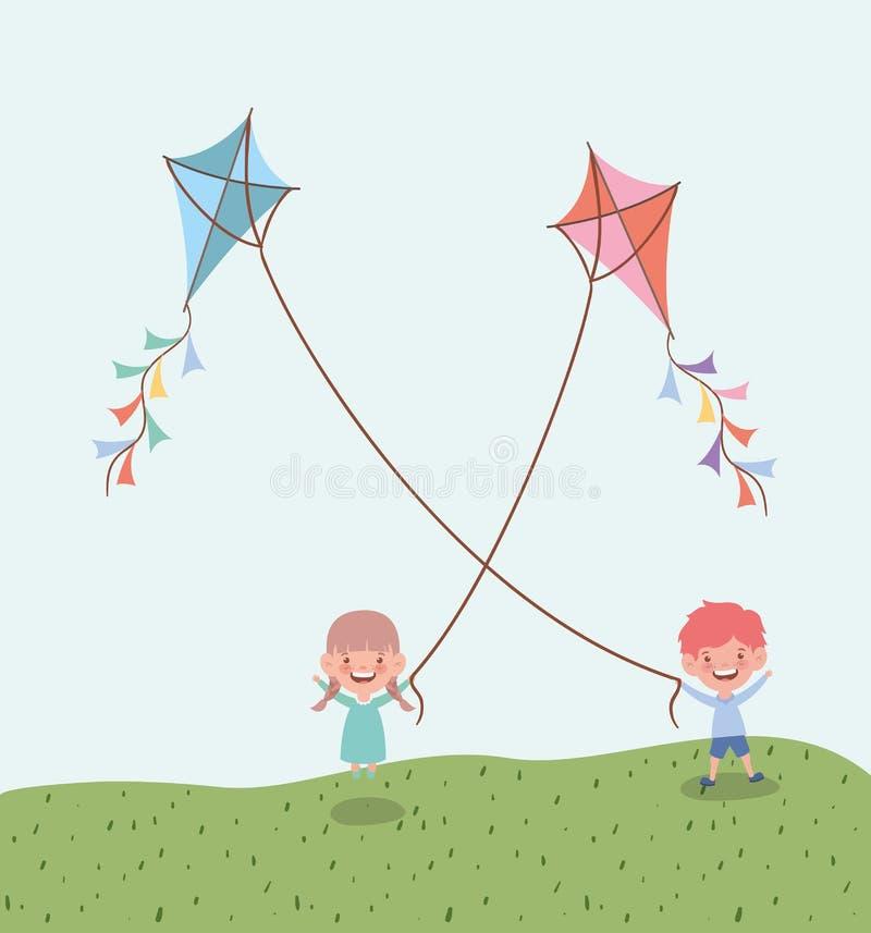 Szczęśliwi małe dzieci lata kanie w odpowiadają krajobraz ilustracja wektor