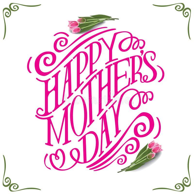 Szczęśliwi matka dnia tulipany i ręka rysująca typografia ilustracja wektor